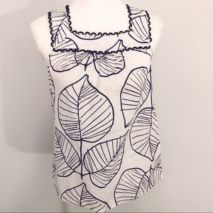 Boden leaf print scalloped sleeveless blouse 6